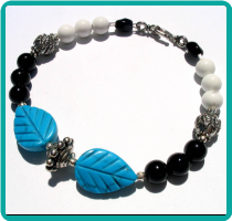 Turquoise Howlite Leaves on Black and White