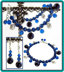 Midnight Blue and Capri Crystal Charm Bracelet