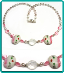 Girl's Pink Kitty Twins Necklace