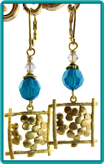 Framed Golden Flowers Earrings