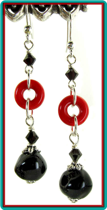 Red Circle and Black Nugget Earrings