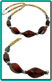 Men's Red Tiger Eye and Mother of Pearl Handmade Necklace