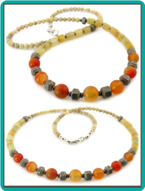 Orange Aventurine and Aragonite Handmade Men's Necklace