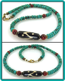 Batik Bead, Turquoise Rondelle and Red Jasper Necklace