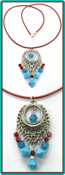 Coral Red and Turquoise Pendant Necklace