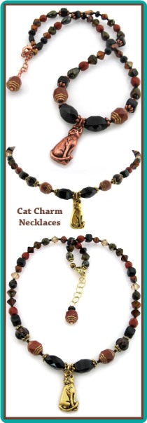 Cat Charm Beaded Handmade Necklace