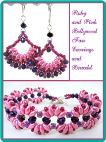 Ruby and Pink Bollywood Fan Earrings and Bracelet