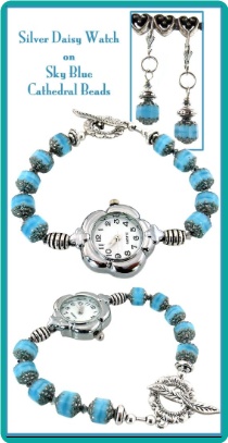 Silver Daisy Watch on Sky Blue Cathedral Beads