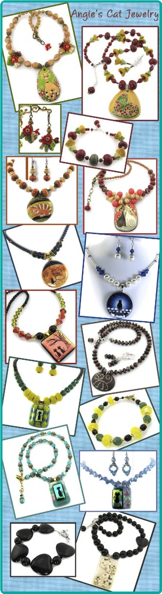 A gorgeous collection of custom-designed necklaces featuring unique pendants, especially cat pendants!