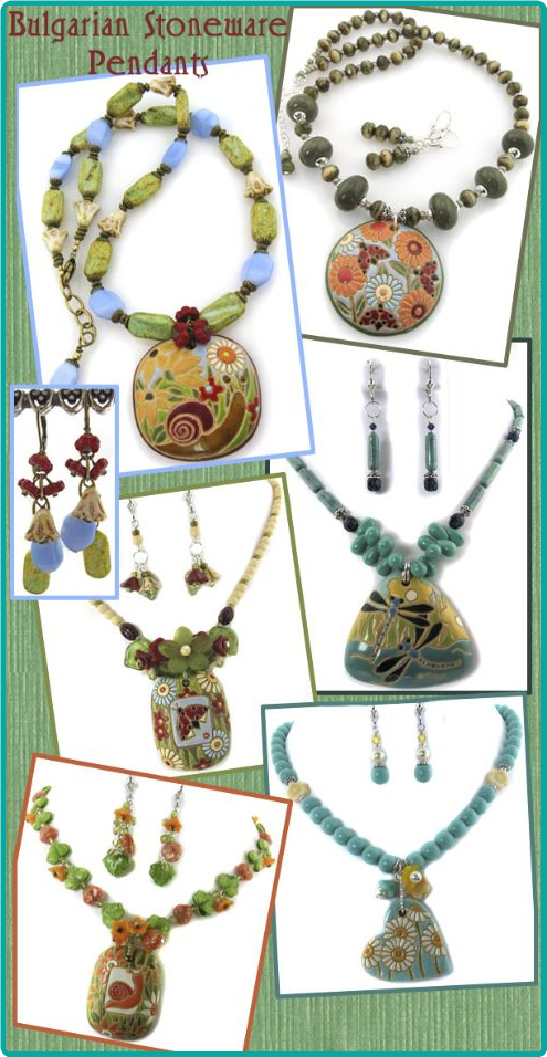 Detailed hand-painted pendants from Bulgaria are featured in these custom necklace designs.
