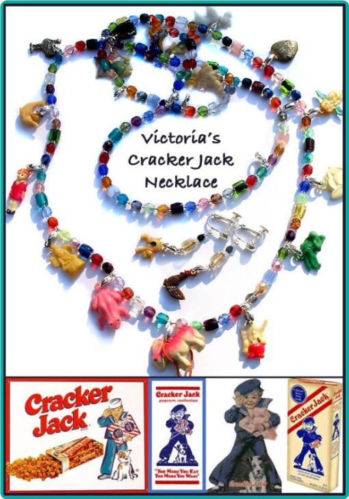 Colorful Vintage Cracker Jack Necklace, Custom Designed