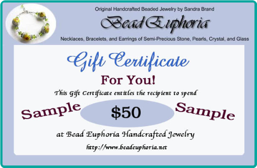 Buy a Bead Euphoria Gift Certificate in the Amount of Your Choice