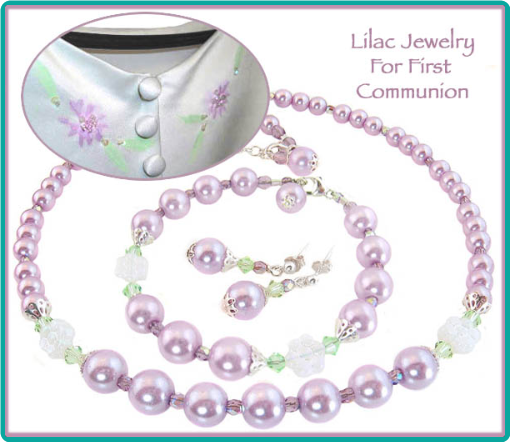 Lilac pearl communion jewelry to match a little girl's communion dress.