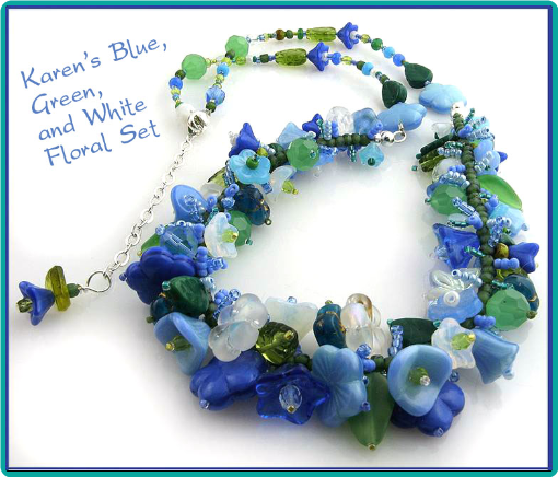 A custom designed floral necklace made with a multitude of blue, green and white flowers.