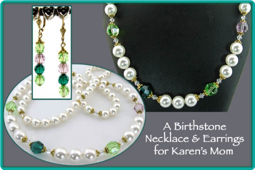 Pearl and peridot custom made birthstone necklace and earrings