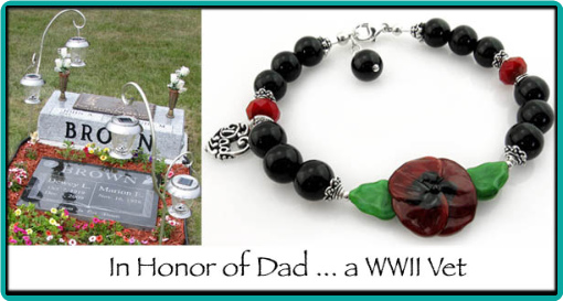 Custom made poppy flower bracelet to honor a WWII veteran
