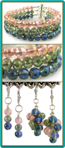 Pastel Crystal Layers Bracelet & Earrings