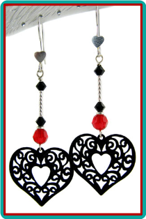 Lacy Black, Red and Silver Heart Earrings