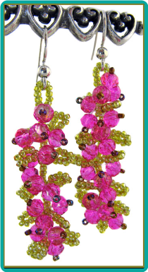 Hot Pink Bougainvillea Vine Earrings