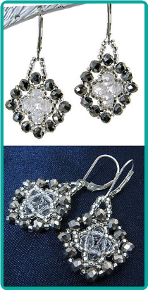 Silver and Clear Crystal Medallion Earrings