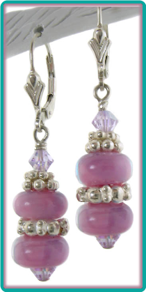 Orchid Pink, Violet and Silver Lampwork Bead Earrings