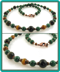 Forest Green Dolomite and Tigereye Men's Bead Necklace