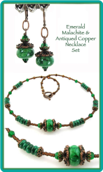Emerald Malachite & Antiqued Copper Necklace Set