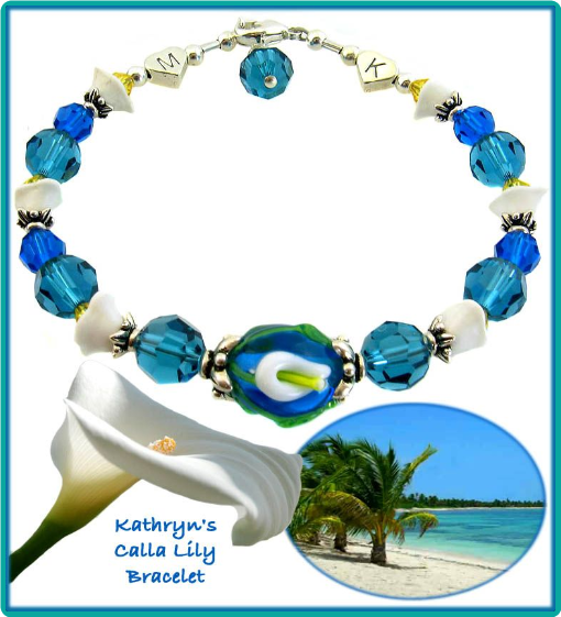 Mexican tropical waters and calla lily bracelet