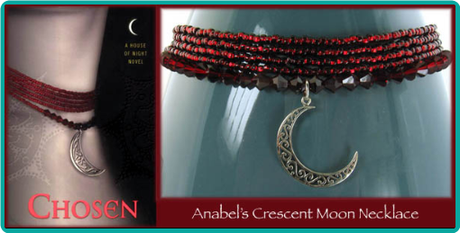 """Chosen"" crescent moon and garnet crystals custom crystal bead necklace"