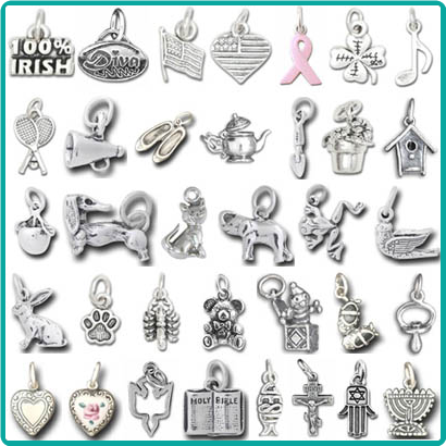 A huge assortment of Sterling Silver Charms is available for Custom Jewelry or Bracelets