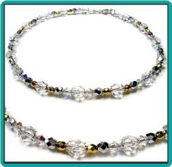 Gold, Silver and Crystal Anklet