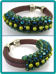 Lime and Capri Jeweled Leather Bracelet