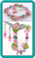Pink and Blue Posies Lampwork Charm Bracelet