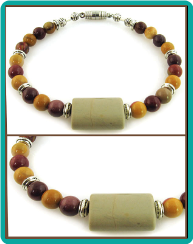 Mookaite Stone Bead Bracelet with Magnetic Clasp