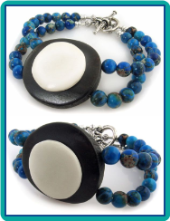 Wood Button and Blue Jasper Double-Strand Bracelet