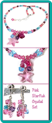 Girl's Pink Starfish Crystal Necklace