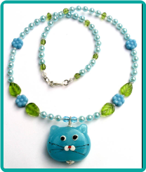 Blue Cat Girl's Necklace