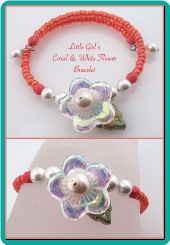 Little Girl's Coral Bead and White Flower Bracelet