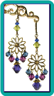 Brass Daisy Chandelier Earrings with Purple and Blue Crystals