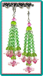 Pink Blossom and Peridot Crystal Cascading Chandelier Earrings