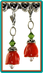 Red-Orange Tulip Bell Lampwork Earrings