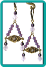 Lavender Opal and Rhinestone Brass Earrings