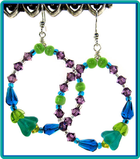 Aqua Lilies Beaded Hoops Earrings