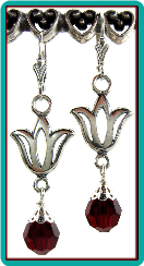 Sterling Silver Tulip Earrings with Siam Red Crystals