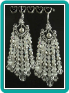 Draping White Crystal & Pearl Chandelier Earrings