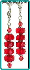 Ruby Red Faceted Rondelle Stack Earrings