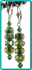Sage Picasso Crystal Rondelle Stack Earrings