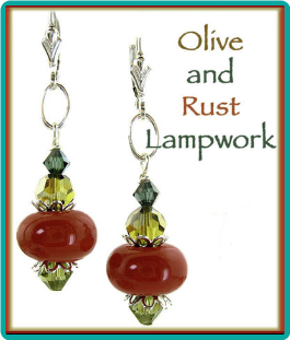 Olive and Rust Lampwork and Crystal Earrings