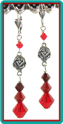 Silver Rose and Red Crystal Earrings