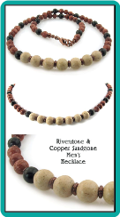 Riverstone and Copper Sandstone Men's Handmade Necklace